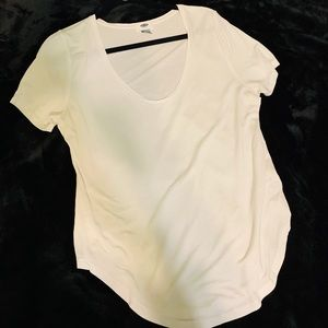 Curved white tee
